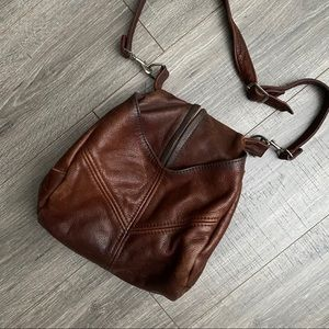 Vintage Leather Zip Front Crossbody Bag Boho Vibes